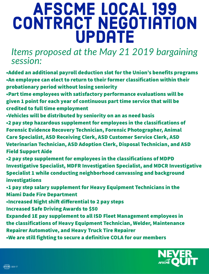 Bargaining Update for June, 2019
